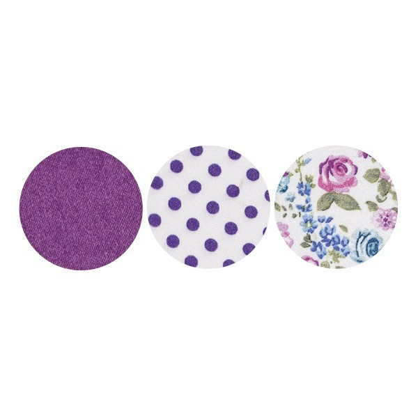 Stoffkreise für Knöpfe mit 16 mm Ø, violett/gemustert, 50er Set
