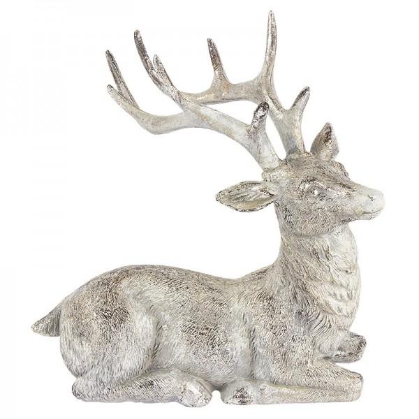 Deko-Figur, Hirsch, 15cm hoch, 15cm breit, liegend