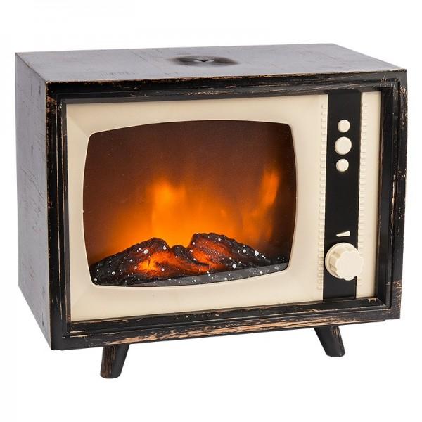 LED-Kaminfeuer, Nostalgie-TV, 21,5cm x 13cm x 18cm, stufenlos dimmbar