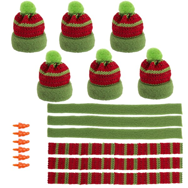 Winter-Outfit 3, Mützen, Schals & Nasen, 18-teilig, für Ø 6cm, grün/rot