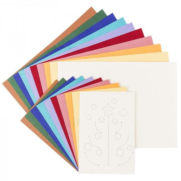 """Fadengrafik-Grußkarten """"Tannenbaum"""", Leinen-Optik, B6, 10 Farben, inkl. Umschläge, 10 Stück"""