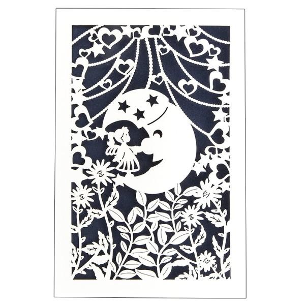 """Laser-Grußkarte """"Mond"""", 12x18cm, mit Umschlag & dunkelblauem Einleger"""