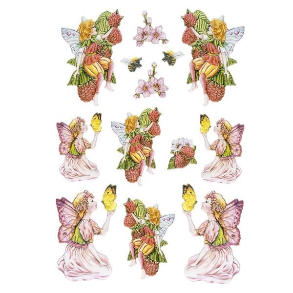 3-D Relief-Sticker, Zauberhafte Elfen 5, 21cm x 30cm, verschiedene Größen, selbstklebend