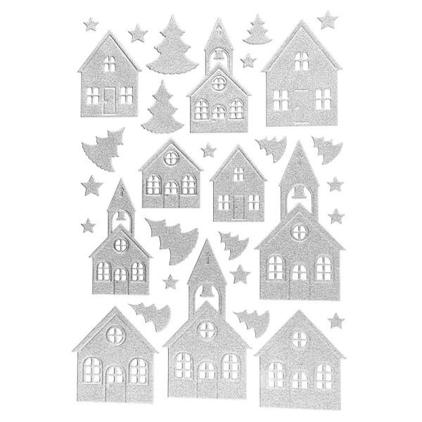 3-D Sticker, Deluxe Häuser & Kirchen, verschiedene Größen, selbstklebend, silber