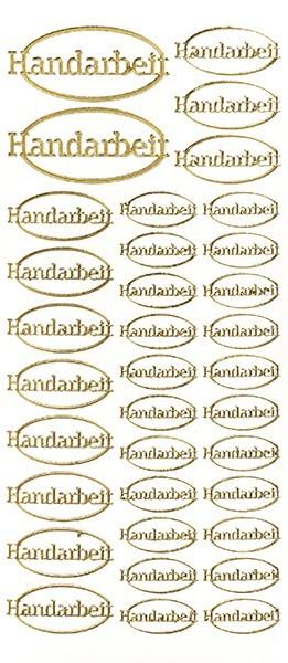 Sticker, Schrift Handarbeit, gold