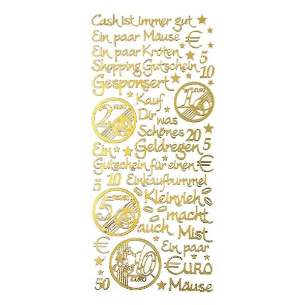 """Sticker, Schriften, """"Geld/Gutschein"""", uvm., Perlmuttfolie, gold"""