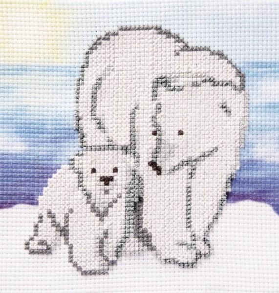 Stickbild-Set, malerischer Hintergrund,  14,5x14,5cm, Eisbären