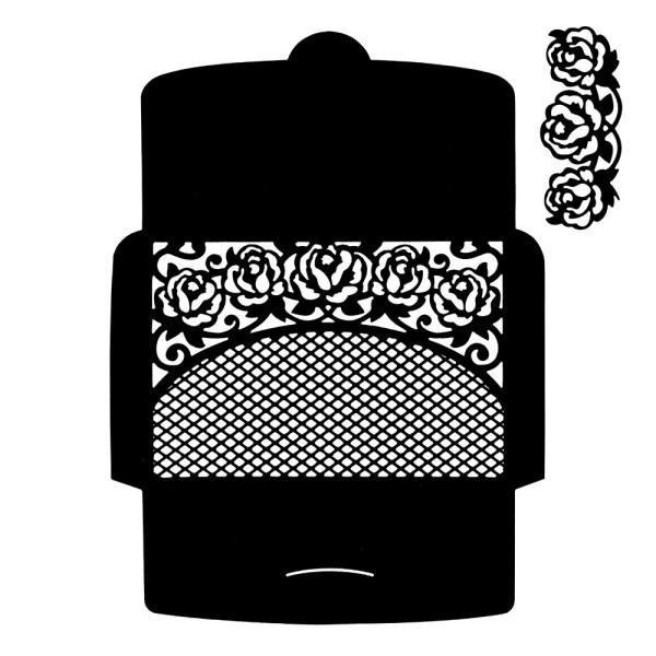 Stanzschablone, Briefumschlag mit Blütenornament, 2 Stück