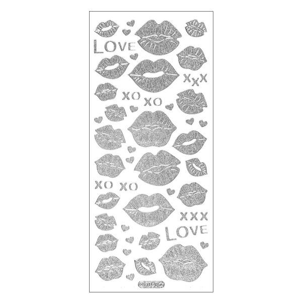 Microglitter-Sticker, Love & Kiss, Kussmünder, silber