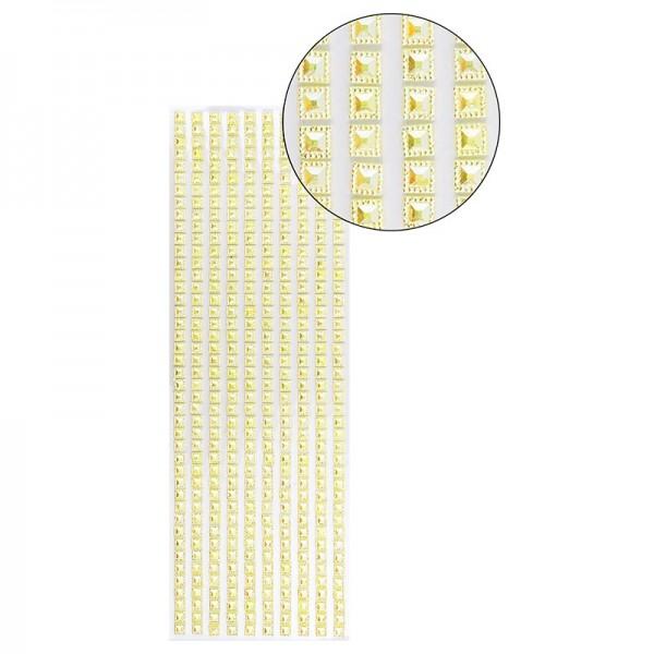 Schmuckstein-Bordüren, selbstklebend, facettiert, irisierend, Quadrate 6 x 6 mm, 29 cm, gelb