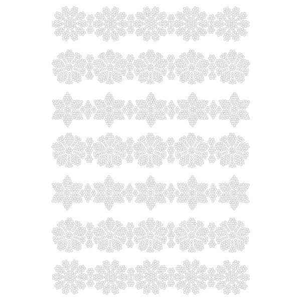 Bügelstrass-Design, DIN A4, klar, Blütenbordüren