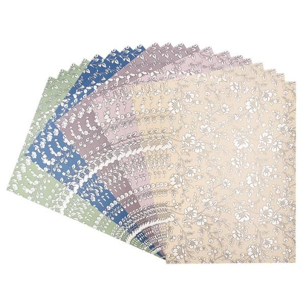 Deko-Karton, Pearl, Blumen, DIN A4, 5 verschiedene Farben, 20 Bogen