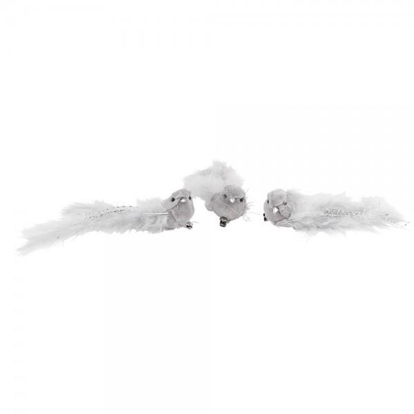 Plüsch-Federvögel, 15cm x 3,5cm x 3,5cm, grau mit silbernen Highlights, mit Clip, 3 Stück