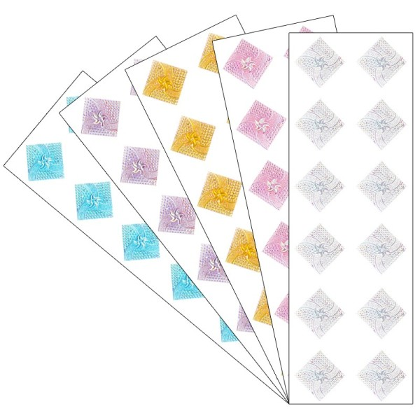 Kristallkunst, Schmuckstein Quadrat 1, 10cm x 30cm, selbstklebend, verschiedene Farben, 5 Stück