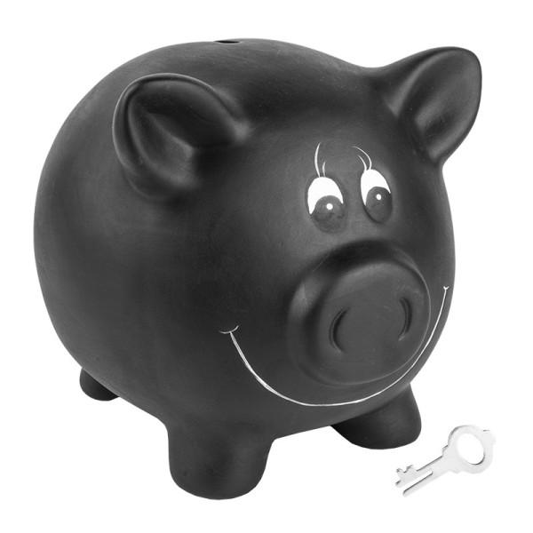 Sparschwein zum Beschriften, 17cm x 14cm x 14cm, schwarz, Tafellack, mit Schloss & Schlüssel