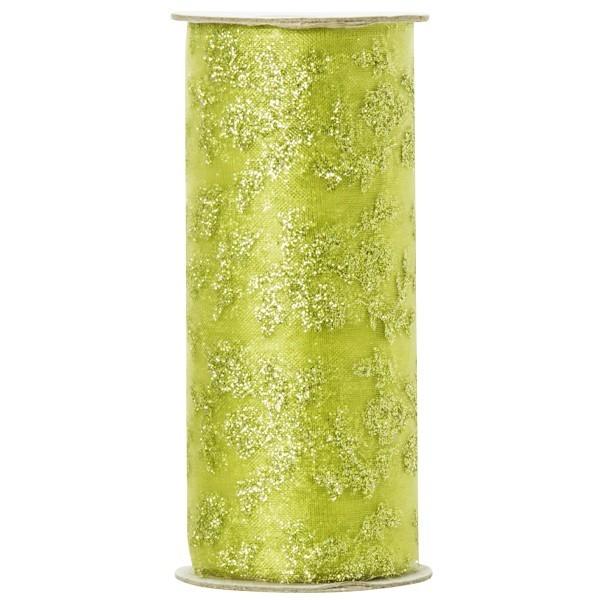Deko-Tüll mit Glimmer-Blatt-Design 2, 12cm x 5m, grün