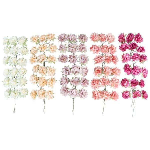 Deko-Blüten, Hortensien 2, Ø 3,5cm, verschiedene Farben, 90 Stück