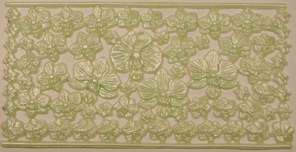Wachsornament-Platte Orchideenblüten, 16 x 8 cm, pistazie