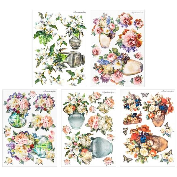 Aqua-Transfermotive, Nostalgie-Blumenvasen 1, DIN A4, farbig, 5 Bogen