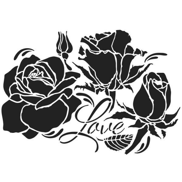 Laser-Kunststoff-Schablone, DIN A4, Rosen, Love