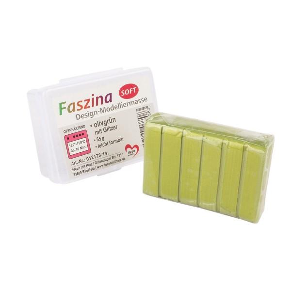 Faszina Soft, Design-Modelliermasse, olivgrün mit Glitzer, 55g, leicht formbar, ofenhärtend