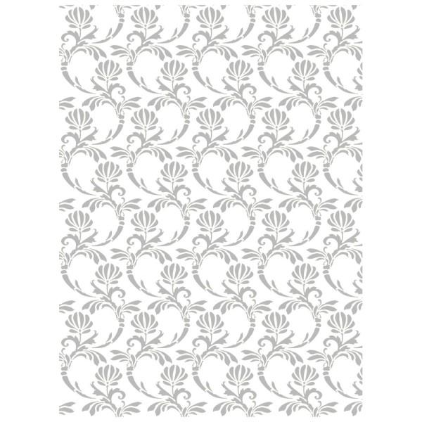 Metallic-Bügeltransfer, Hintergrund, Florale Ornamente, 25cm x 34cm, silber glänzend