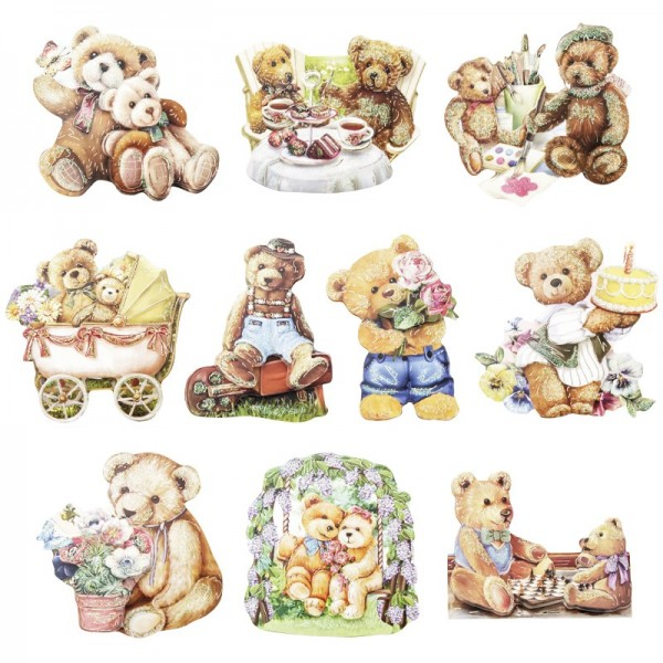 3-D Motive, Teddymotive, Gold-Gravur, 5,5-8cm, 10 Motive