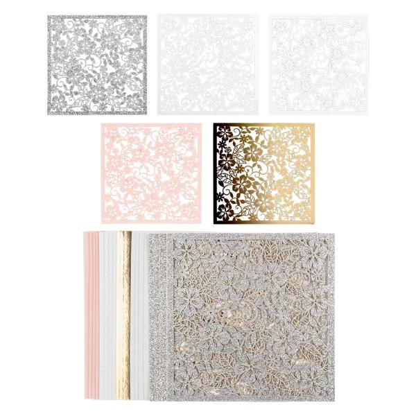 Laser-Kartenaufleger, Floral 1, 14cm x 14cm, 220 g/m², 5 Farben, 20 Stück