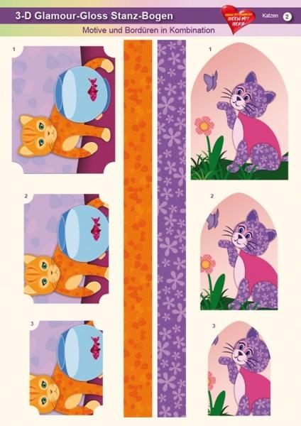 3-D GlamourGloss Bogen, Katzen, DIN A4, Motiv 2