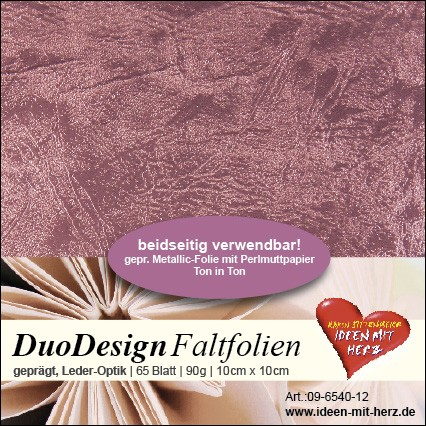 DuoDesign Faltfolien, Leder-Optik, 10 x 10 cm, 65 Blatt, mauve