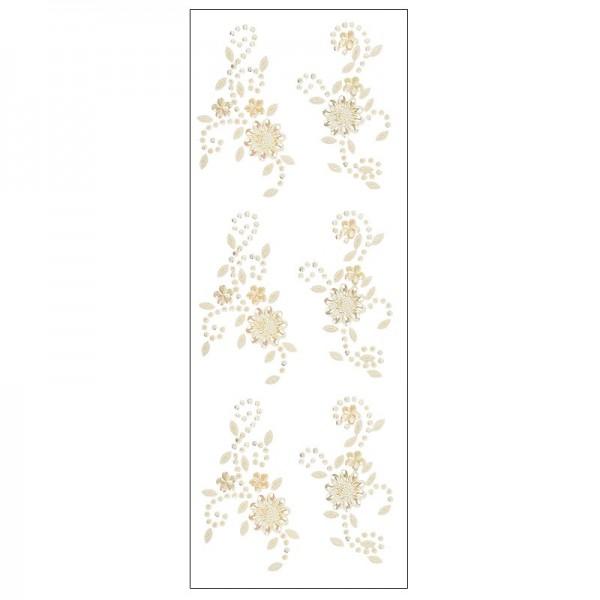 Kristallkunst, Blumenornament, selbstklebend, 10cm x 30cm, creme irisierend