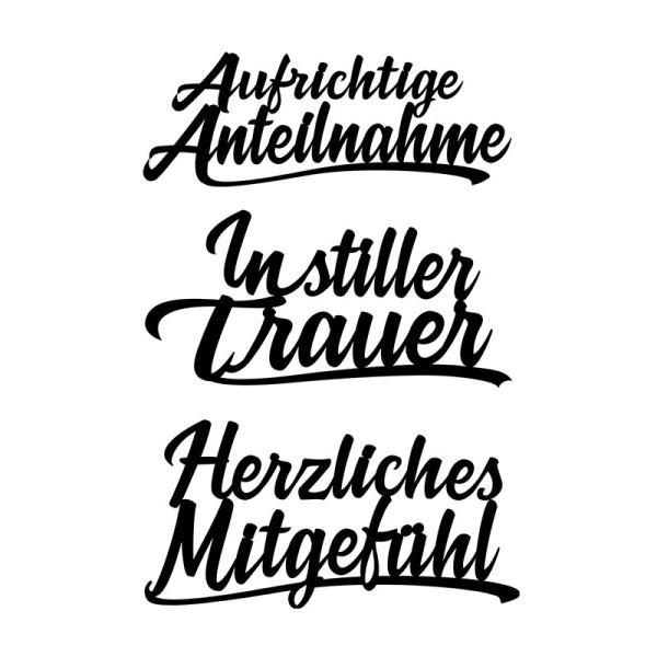 Stanzschablonen, Schriften, Kondolenz 2, 3,2cm bis 8,5cm, 3 Stück