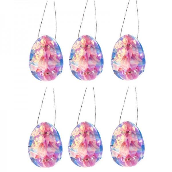 Waben-Eier zum Aufhängen, 6cm hoch, 6 Stück, rosa-irisierend