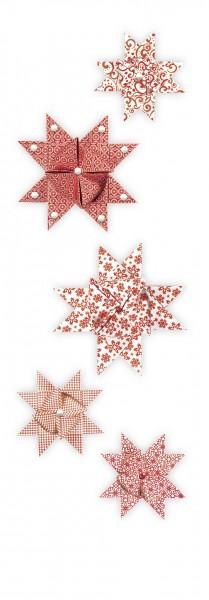 Fröbelsterne, rot/weiß, 60 Faltstreifen