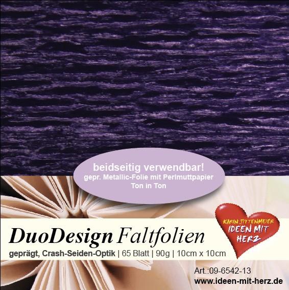 DuoDesign Faltfolien, Seiden-Optik, 10 x 10 cm, 65 Blatt, aubergine