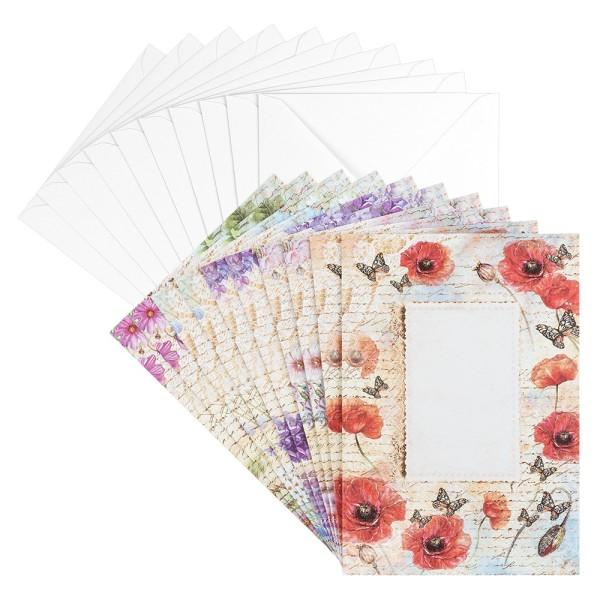 Motiv-Grußkarten, Blütentraum 4, B6, 230 g/m³, 5 Designs, inkl. weißen Umschlägen, 10 Stück