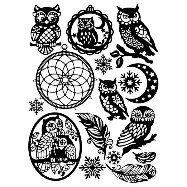 Stanzschablonen, Eulen und Traumfänger, verschiedene Designs, 16 Stück