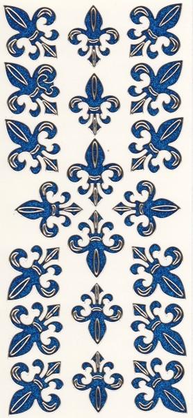 Microglitter-Sticker, Französische Lilie, blau