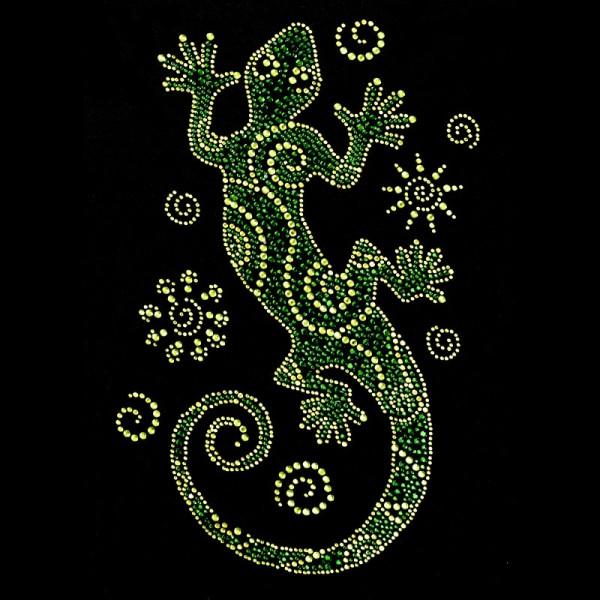 Bügelstrass-Design, DIN A4, mehrfarbig, Gecko 3, grün