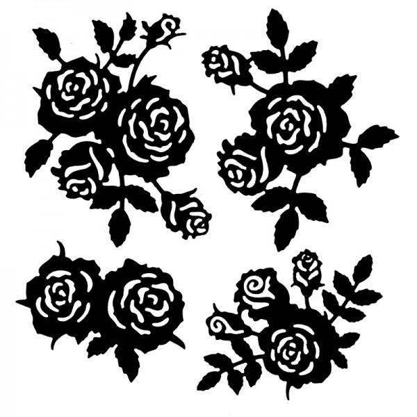 Stanzschablonen, Rosen, 4 Stück