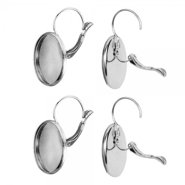 Ohranhänger mit Fassung, Ø 20mm, silber, 4 Stück