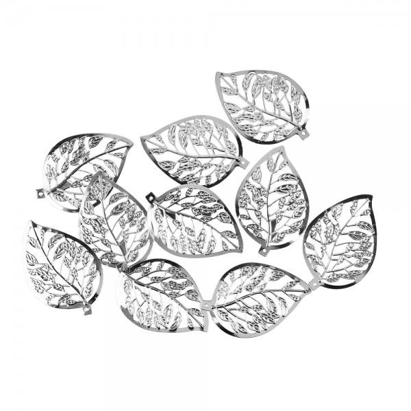 Metall-Ornamente, Blatt 8, 6cm x 4cm, silber, 10 Stück
