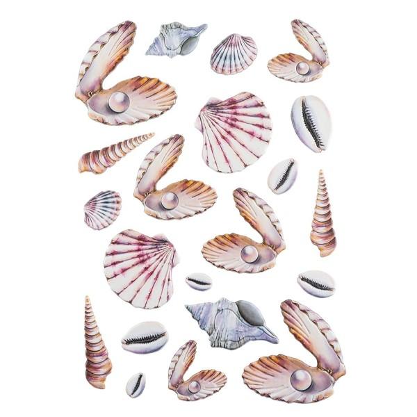 3-D Relief-Sticker, Maritim, Muscheln, verschiedene Größen, selbstklebend