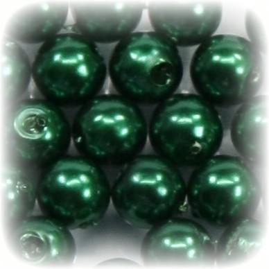 Perlen, rund, Ø6 mm, dunkelgrün, 50 Stück