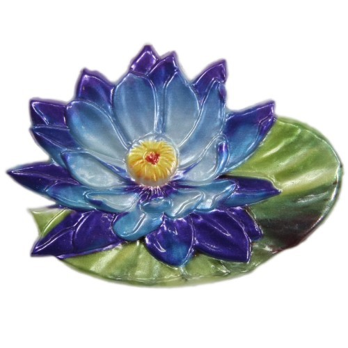 Wachsornament, Seerose, farbig, geprägt, 8,5x6,5cm, Design 1