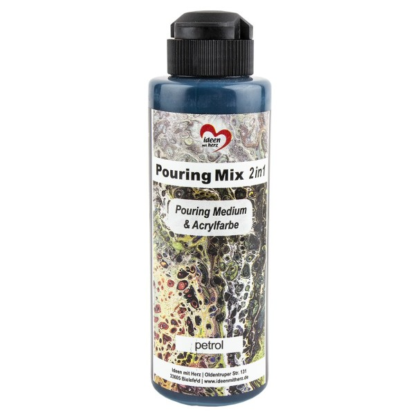 Pouring Mix, 2 in 1, Pouring Medium & Acrylfarbe, petrol, 180ml
