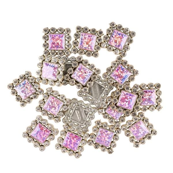 Premium-Schmucksteine, Quadrat, 1,9cm x 1,9cm, hellgold, mit Glitzerstein & Glaskristall, 17 Stück