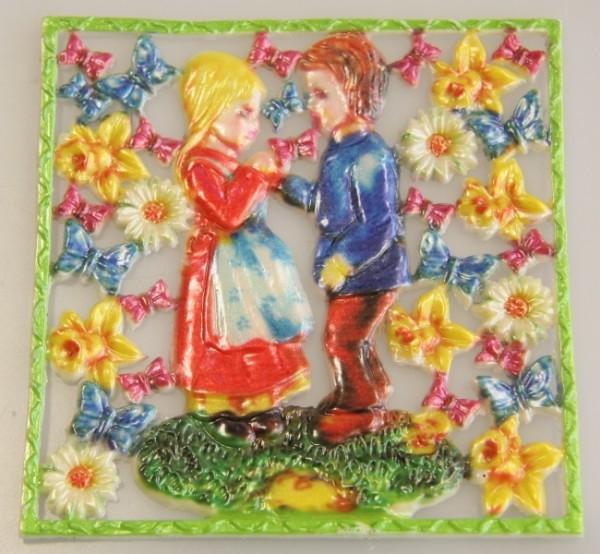 Wachsornament-Platte Kinderpaar, 10 x 10 cm