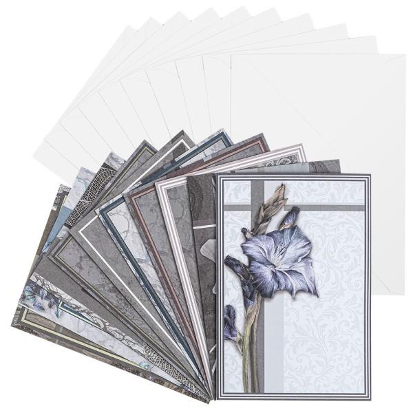 Motiv-Grußkarten, Kondolenz, B6, 230 g/m²,verschiedene Designs, inkl. Umschläge, 10 Stück