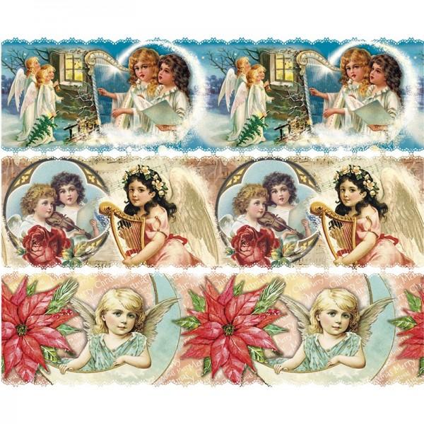 Zauberfolien, Vintage Engelchen, Schrumpffolien für Ø8cm, 7,5cm hoch, 6 Stück